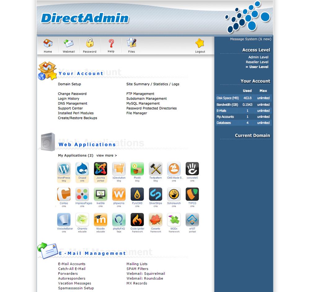 Administratiepaneel van webserver
