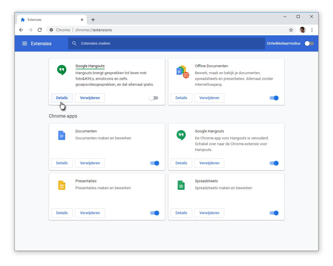 Google Hangouts als Extensie
