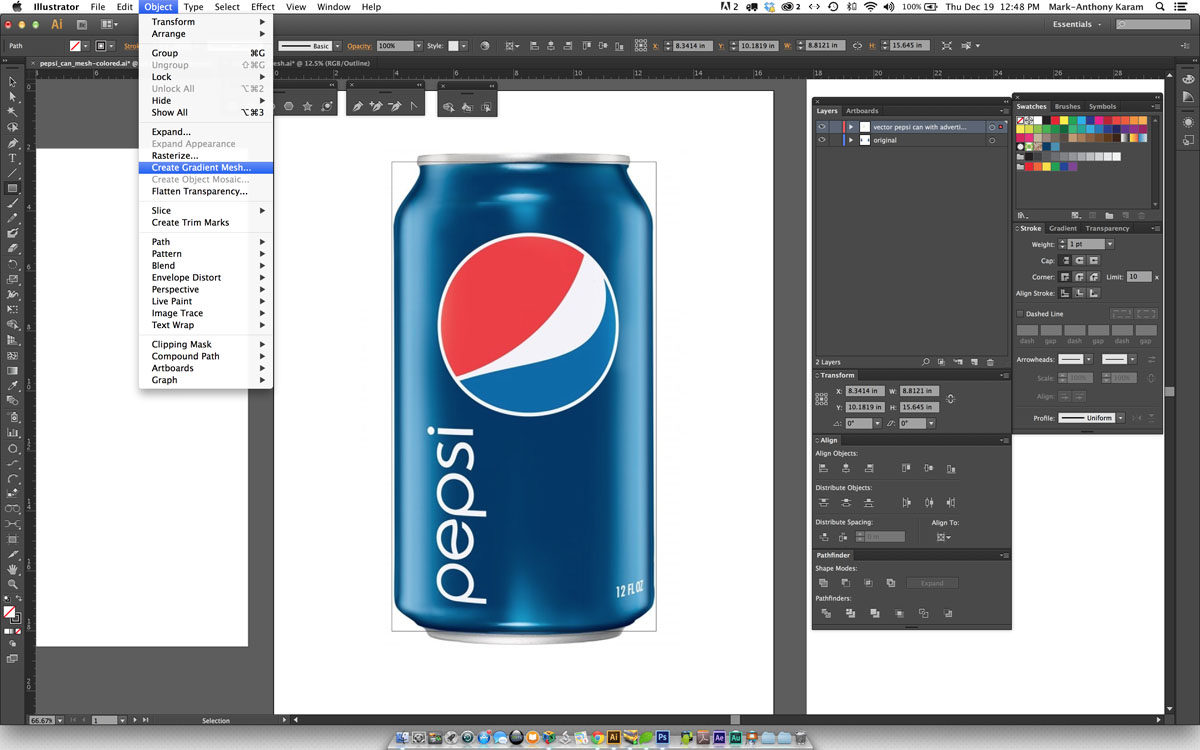 Voorbeeld van interface in Adobe Illustrator